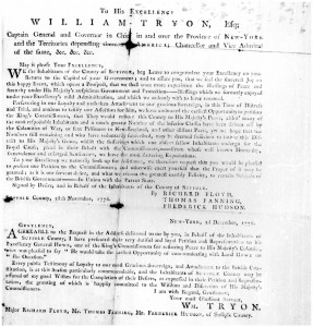 Figure 2: Richard Floyd, Thomas Fanning, and Frederick Hudson to Governor William Tryon, 28 November 1776. Microfilm Collection of the Institute for Colonial Studies, State University of New York at Stony Brook, reel HK. Stony Brook, NY: The Institute, 1965?. Microfilm, Special Collections, Stony Brook University.
