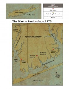 Figure 3: Map of the Mastic Peninsula, delineating freeholder properties, c.1775. Map by author and Pedro Lajud, Graphic Designer. Property boundaries estimated by MaryLaura Lamont at the William Floyd Estate. Aerial key of Long Island inspired by John Strong's maps in The Unkechaug Indians of Eastern Long Island (2011).