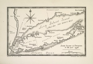 """Figure 1: """"Map of Long Island,"""" ca. 1776, taken from William H. W. Sabine, Suppressed History of General Nathaniel Woodhull, President of the New York Congress and Convention in 1776 (New York: Colburn & Tegg, 1954). Collection of The New-York Historical Society."""