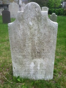 """Figure 4: Photo of Tombstone of Arabella Floyd, by author. The grave also mentions her husband Richard Floyd IV, """"who died at Mangerville [sic] St. John, New Brunswick, 1791."""" width="""