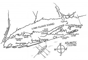 Map of Long Island in the seventeenth century showing Shinnecock and Montaukett lands and Ninigret's village. Map by David Bunn Martine