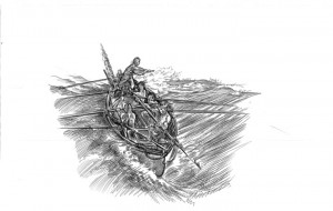 Figure Whaleboat crew attacking a whale. Drawing by David Bunn Martine Director of the Shinnecock Nation Museum