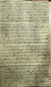 Figure 12. Agreement by James Courageous, a Shinnecock whaler, to go to sea on the Uncle Toby under the command of Captain Weir Swaine, June 25, 1803. Rogers File, Southampton Town Historical Society collections.