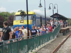 Figure 4. Summer passengers at Greenport Station (2015: Collection of Derek Stadler)