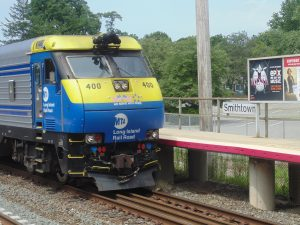 Figure 8. LIRR EMD DE30AC diesel locomotive at Smithtown Station (2013: Collection of Derek Stadler)