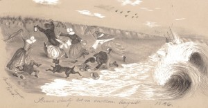 Figure 1: Beach Party Set in Motion, 1856, pencil sketch, Katherine Floyd Dana, 1856.