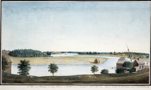 Figure 5: A View Near Flushing on Long Island in the Province of New York North America. Taken on Spot by Tho\s Davies Cap\t L\t Roy\l Artillery, 1765. Thomas Davies. Watercolor Drawing. Courtesy of the Winterthur Museum, gift of Charles K. Davis, 1953.189.3.