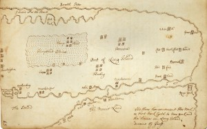 Figure 1: Map of western Long Island showing Dutch and English settlements, ca. 1658. James Lloyd after Robert Ryder and Phillip Wells. Ink on paper. Courtesy of the New-York Historical Society: Manuscripts Collection, Lloyd Family Papers.