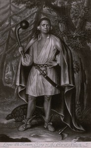 Figure 8: Etow Oh Koam King of the River Nation, 1710. John Simon after John Verelst. Mezzotint. Courtesy of the Winterthur Museum, museum purchase with funds provided by Charles K. Davis, 1956.82.2.