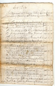 Figure : Page from the Flushing inventory of William Lawrence itemizing slaves and landholdings on Long Island and in Westchester, 1680. Courtesy of the Bowne House Historical Society, Flushing, NY.
