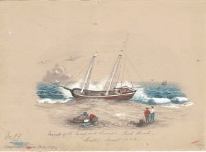 "Figure 1: ""The Wreck of the Mary and Francis,"" 1856, by Katherine Floyd Dana, colored pencil sketch."