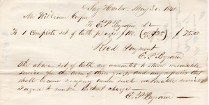 Figure 15. Dental Bill for Mrs. Phebe Sayre Cooper (1786 – 1874) from E. P. Byram, dentist.
