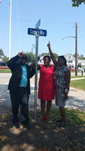 "Figure 4. Joseph McGill, Brenda Simmons and Georgette Grier-Key with the newly installed sign for ""Concer's Way,"" Southampton, author's photo."