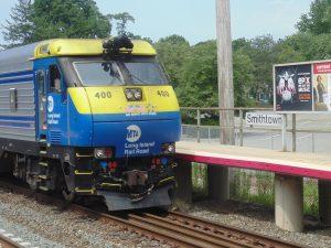 Figure 8. LIRR EMD DE30AC diesel locomotive at Smithtown Station (2013: Collection of Derek Stadler)