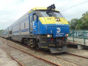 Figure 9. LIRR EMD DE30AC diesel locomotive and consist at Greenport Station (2015: Collection of Derek Stadler)