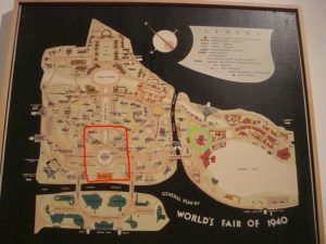 Fig. 2: Indication of Scenes of All American, Green Lantern story.  Map of 1939 World's Fair.  Queens Museum of Art.