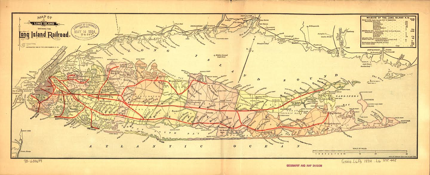 Figure 3. Map of Long Island showing the Long Island Railroad. Designed & engraved by American Bank Note Company. (Library of Congress, Geography and Map Division)